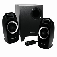 Creative Inspire T3300 High-performance 2.1 speaker system, 5.5 Watts RMS per channel (2 channels), 16 Watts RMS subwoofer, adjustable bass, VC